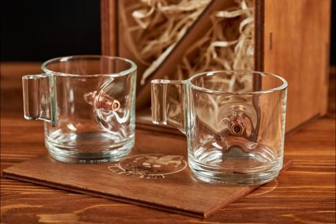 набор из двух чашек для кофе эспрессо с настоящей пулей